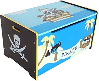 Bebe Style Toddler Sized Premium Wooden Pirate Toy Box and Bench Pirate Theme Easy Assembly Blue ()