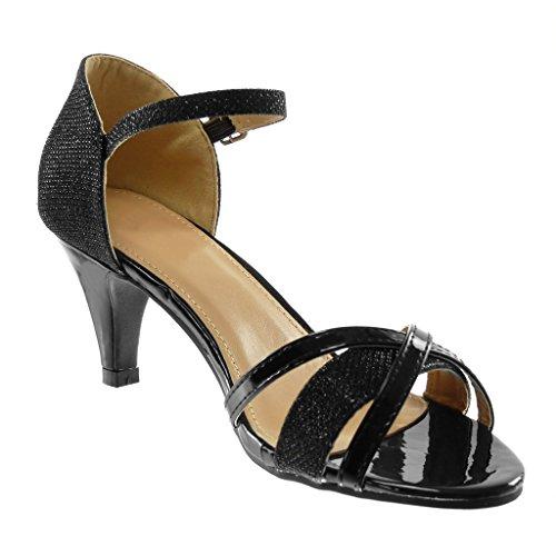 Cönique Noir Angkorly Cheville Lanière Croisées Talon Chaussure Métallisé Lanières Femme Sandale Haut Escarpin 7 Chic Mode Brillant Cm TTqr6