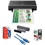 """Canon PIXMA iP110 Wireless Mobile Inkjet Color Photo Printer, - Bundle With Canon LK62 Portable Battery Kit, Canon Matte Photo Paper (4x6"""") 20 Sheets, USB 3.0 Cable, Software Package"""