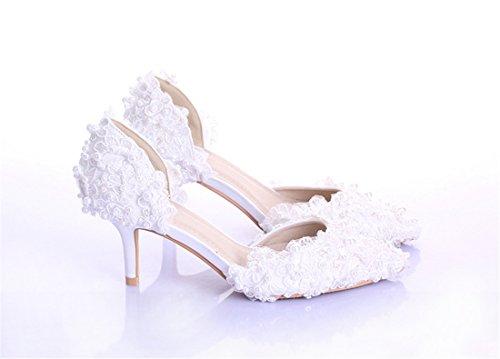 White Heel Miyoopark 7cm Cuña Mujer Sandalias Con qY8YwI0