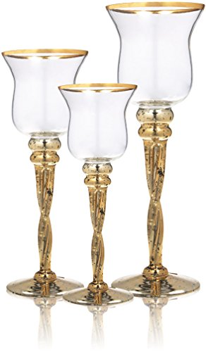 Palais Glassware Elegant Bougeoir Collection, Set of 3 Hurricane Candle Holders (Tulip Gold Rim with Twisted Stem) (Tulip Candle Glass)