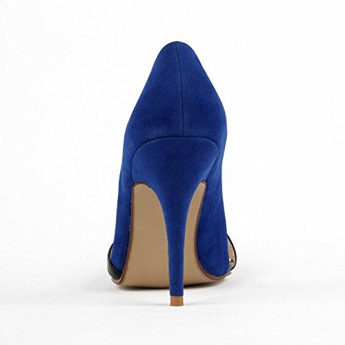 Minitoo TH12119 4 Zoll, Damen Pumps, mehrfarbig-Teilung aus PU-Leder für den Abend Kleid Hochzeit D-orsay Pumps Blau