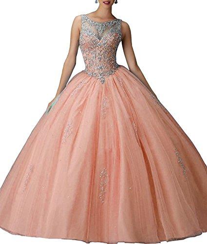Bessdress Magnifiques Longues Dreses De Bal Girls'ball Perles Robe Robes De Quinceanera Bd084 Corail