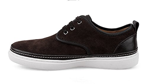 Happyshop(TM) Mens Suede Leather Lace-up Loafers Flats Driving Shoes Comfort Slip-on Board Shoes Size 38-44 Brown G2B8bf