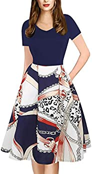 oxiuly Women's Vintage Plaid Stripe V-Neck Casual Pockets Party Swing Dress O