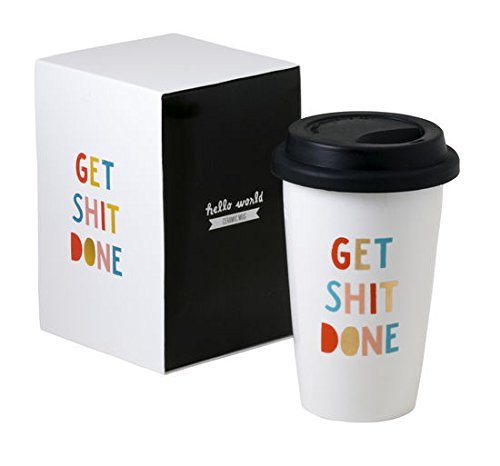 Get Shit Done Funny Travel Thermal Ceramic Coffee Mug With Lid and Gift Box. Best Gift for Employer, Employees, Co-workers, His, Her, (Friend Ceramic Travel Mug)