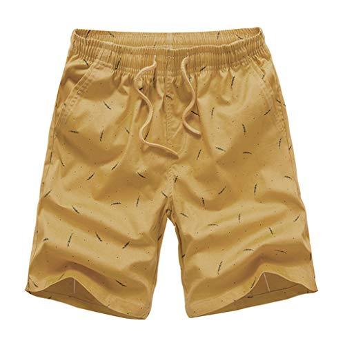 Ximandi Men's Casual Fashion Print Patchwork Beach Surfing Swimming Loose Short Pants Yellow