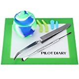 Pilot Diary Wax Carving Kit Honey Pot Large Silicone Jar Container 30ml(1) + Stainless Steel Wax Carving Tool (1) + Reverse Tweezer(1)+ Nonstick Wax Mat 5.5″ x 4.5″(1) (Blue&Green)