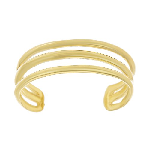 Lavari - 10K Yellow Gold Triple Band Toe Ring Adjustable ()