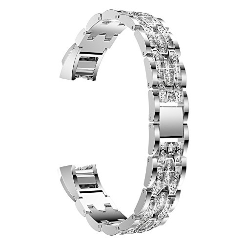 Fitbit Alta Bands,Stainless Metal Bands with Rhinestone Adjustable Jewelry Strap Bracelet for Fitbit Alta/Alta HR (Silver White Diamond) ()