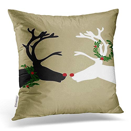(Accrocn Throw Pillow Covers Vintage Popular Christmas Elk Black White Deer Outline Pillowcases Polyester 20 x 20 Inch Cushion Decorative Pillowcase Square with Hidden Zipper Home Sofa)