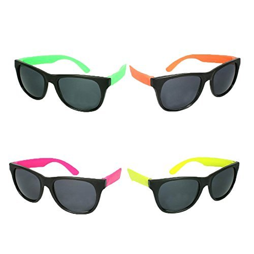 Neon Sunglasses with Dark Lens Assorted Party Favor (36 - Neon Sunglasses Plastic
