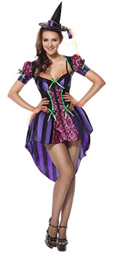Lusiya Women's Naughty and Kindhearted Witch Halloween Plus Size Costume Purple Large/X-Large (Naughty But Nice Costumes)