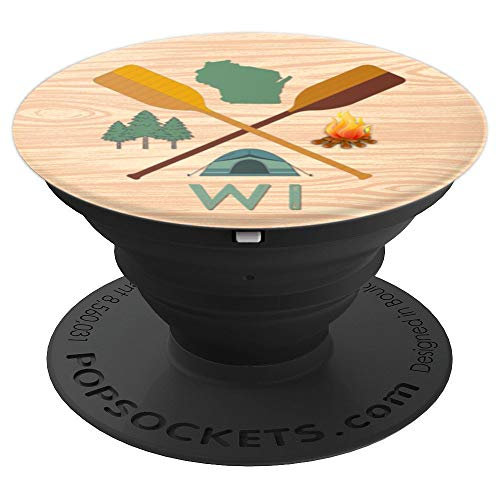 Wisconsin Wood Grain Camping, Canoeing, and Hiking, Nature - PopSockets Grip and Stand for Phones and Tablets