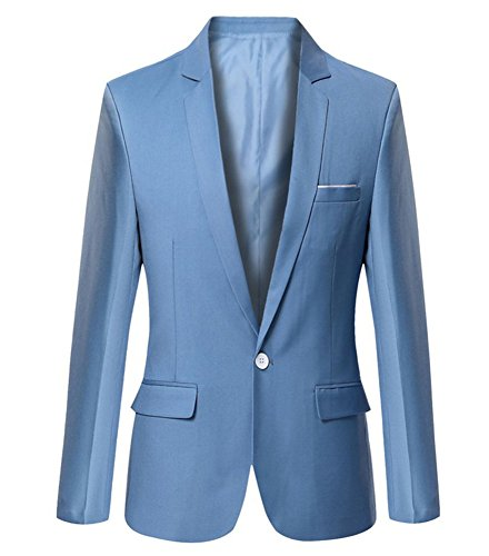 Mens Slim Fit Casual One Button Blazer Jacket (M, Light Blue) (Men Blazer Light Blue compare prices)