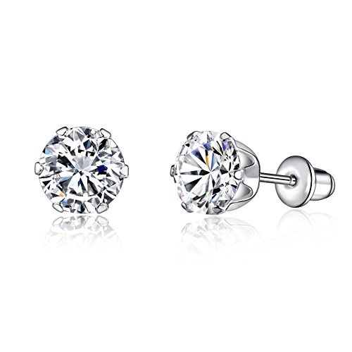 Unisex Classic 6-Prong Sterling Silver Stud Earrings With Hearts & Arrows Cutting Simulated Diamonds & Comfort Fit Earposts (D: 8mm) (6 Prong Earrings)