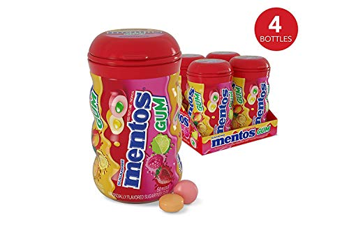 Mentos Sugar-Free Chewing Gum, Red Fruit Lime, 50 Piece Bottle (Pack of 4)