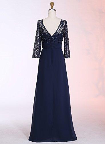 Prom Lace Evening Chiffon Dresses Dresses Womens White Half ALAGIRLS Long Sleeves qc08U4pw