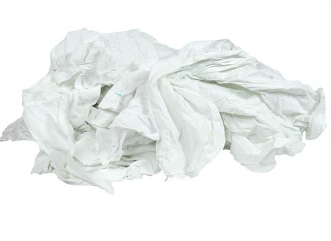 RagLady Recycled White Cotton Sheeting Rags - 24'' x 24'' - 40 Pounds in a Box