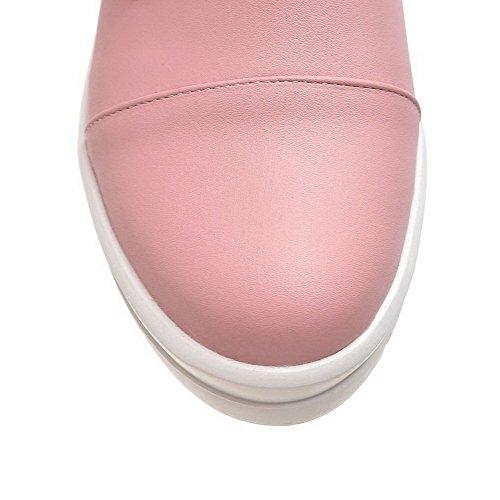 AllhqFashion Mujeres Hebilla Puntera Redonda Cerrada Mini Tacón Sólido De salón con Metal Rosa