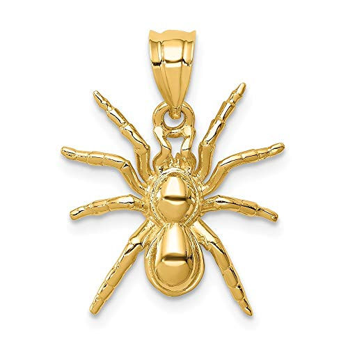 14k Yellow Gold Spider Pendant Charm Necklace Holiday Halloween Fine Jewelry Gifts For Women For Her ()