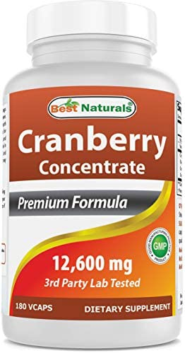 Best Naturals Cranberry Pills 3X Concentrate Veggie Capsule, 12600 mg, 180 Count 817716010755