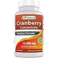 Best Naturals Cranberry Pills 3X Concentrate Veggie Capsule, 12600 mg, 180 Count
