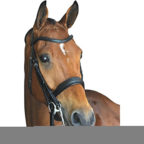 Collegiate Mono Crown Padded Raised Weymouth Bridle Horse Black (Weymouth Bridle)