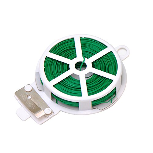 (164FT(50M) Garden Plant Wire Twist Tie Dispenser with Cutter Cable Tie Coated Wire (White))