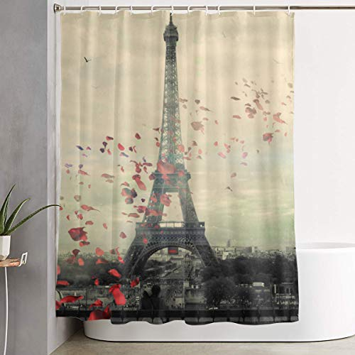 (JEFFERYjSPARKS Paris Wallpaper Shower Curtain, Fully Patterned Design Waterproof and Bacteria-Proof Shower Curtain 60x72 Inches, Non-Toxic and Odorless)