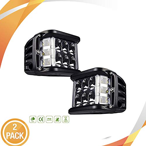 - LED Light Bar 2pcs 4'' 90w Full Reflector Side Shooter Cube LED Light with Flashing Strobe mode
