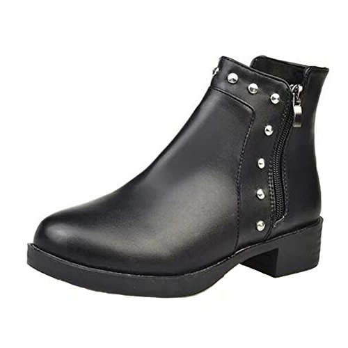 Angelliu Casual Womens PU Leather Rivet Flats Ankle Boots Roman Short Boots Black wF0mlsbws