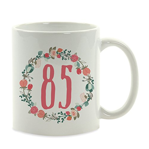 Andaz Press 11oz. Milestone Birthday Coffee Mug Gift, 85, Coral Floral Wreath Graphic, 1-Pack, 85th Birthday Unique Girl Woman Wife Gift Ideas for Her -