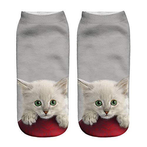 Hurrybuy Unisex 3D Cat Print Socks Popular Funny Short Stocking Comfortable Sock -