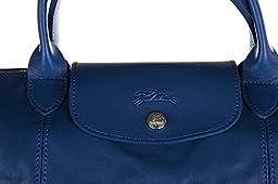 Longchamp women\'s leather handbag shopping bag purse blu