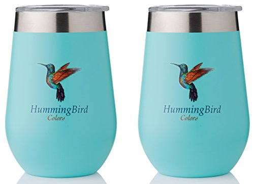 HummingBirdColors Fun Tumblers - Aqua Color 12oz, Set of 2, Stainless Steel, Double Wall Vacuum Insulated for Hot and Cold Drinks, Shatterproof Lid, Stylish for Indoors and Unbreakable for Outdoors (Set Hummingbird)