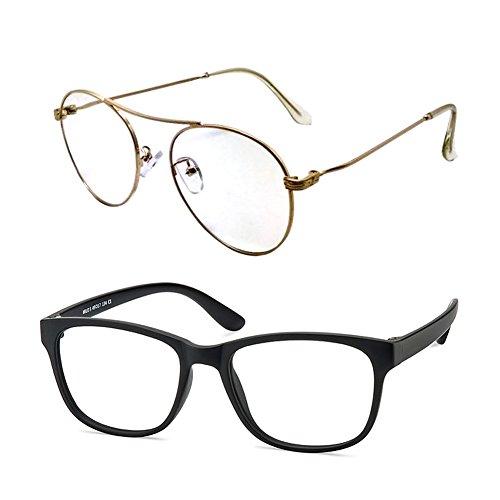 Computer Glasses/Blue Light Blocking Glasses,Filter UV420,Photochromic Lens,Anti-Eyestrain,2pais/pack(Sky_Golden&Milo) by VisionGlobal