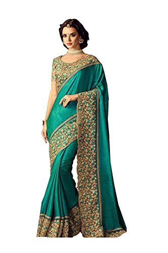 Da Facioun Indian Sarees For Women Wedding Designer Party Wear Traditional Ethnic Dark Greensari by Da Facioun