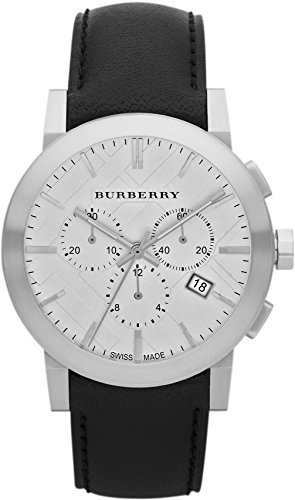 - Swiss Burberry LUXURY Chronograph Watch Men Unisex The City Black Leather Silver Date Dial BU9355