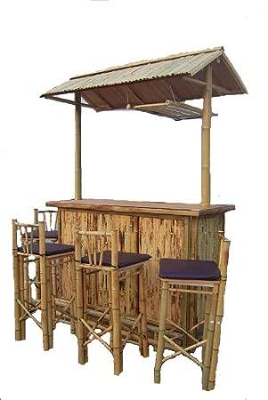 5tlg Dunkle Bambus Bar Mit 4 Hocker Bambus Theke Tresen Barhocker