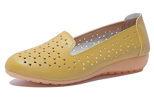 Hollow Muster Top Aisun Low Damen Slip Slippers Cut on Gelb Sterne Basic Flach ETEcWXwq1