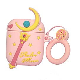 Airpod Case for Apple Airpods 1&2, Cute 3D Funny Cartoon Soft Silicone Cover, Kawaii Fun Cool Keychain Design Skin, Fashion Color Cases for Girls Kids Boys Air pods (Sailor Moon)