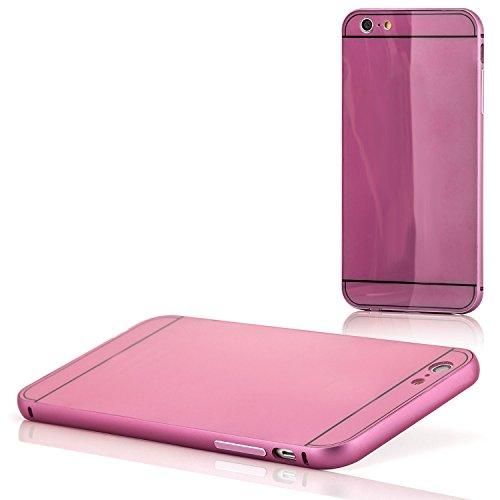 Saxonia iPhone 6 Plus / 6S Plus Coque aluminium Métal Housse Bumper rigide Case   Housse Etui Protection Verre Acrylique Verso Rose