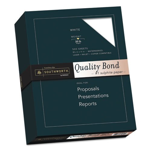 Southworth Products - Southworth - Fine Quality Bond Paper, 20 lbs., 8-1/2 x 11, White, 500/Box - Sold As 1 Box - Watermarked and date-coded. - Regular finish. - Acid- and lignin-free for archival quality.
