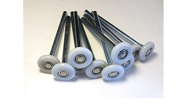 Pack of 10 Rollers 2 Nylon Garage Door Roller with 4 Stem Stem Diameter is 7//16. 4 Zinc Plated Stem 11 Ball Bearing