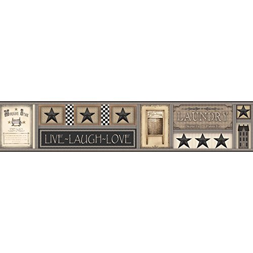 York Wallcoverings Country Keepsakes Laundry Star Border Removable Wallpaper, Grey, Tan, Taupe, Black, Cream, Brown