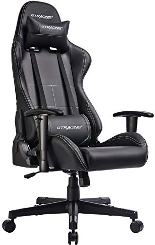 Gaming Chair Racing Office Computer Chair Video Game Adjustable Recliner Swivel Rocker with Headrest and Lumbar Pillow E-Sports Chair Black