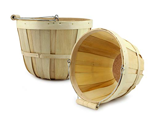 Halloween Fruit Baskets (Cornucopia Brands Round Wooden Baskets (2-Pack, Natural); Wood Fruit Buckets with Handle, 4-Quart)