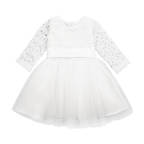 iEFiEL Newborn Baby Girls Embroidered 3D Flower Baptism Christening Gown Wedding Birthday Party Tutu Dress Ivory Long Sleeves 24 ()