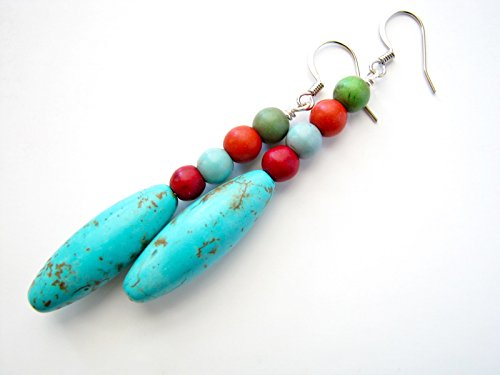 Long Beaded Blue Drop Earrings Turquoise Red Multicolor Stones Semi Precious Jewelry